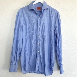 Isaia Napoli Blue Collared Button Up Shirt